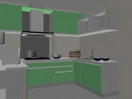 Green U kitchen design 3d preview