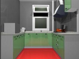 Green U-kitchen ideas 3d model preview