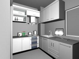 L-shaped kitchen design 3d model preview
