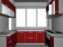 Small U-kitchen 3d model preview