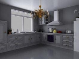 European style kitchen design 3d model preview