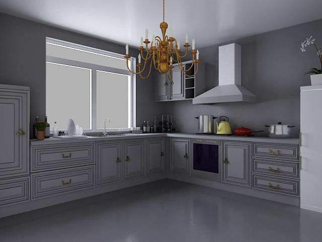 European style kitchen design 3d model 3dsMax files free ...