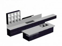Double line kitchen cabinet 3d model preview