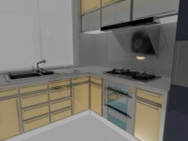 Modern corner kitchen design 3d model preview