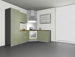 Corner kitchen design 3d model preview