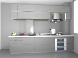 Silver kitchen design 3d preview