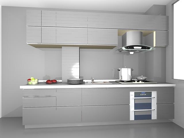 Silver kitchen design 3d rendering