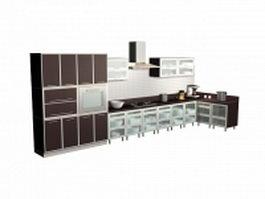 Brown single line kitchen design 3d model preview