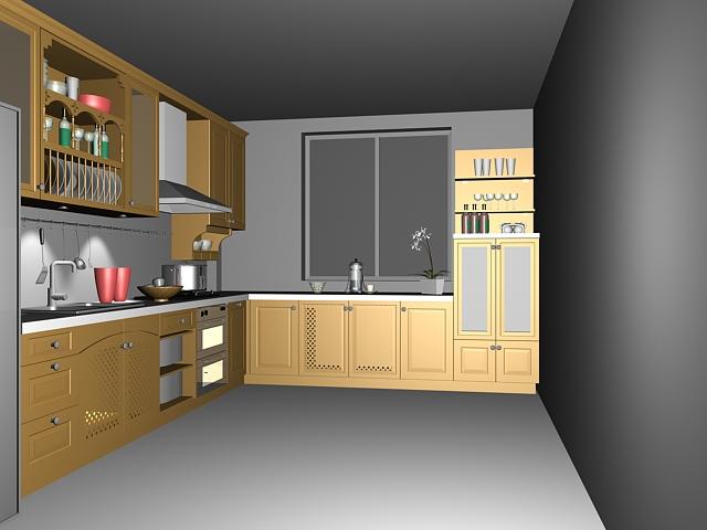 L kitchen design layout 3d rendering