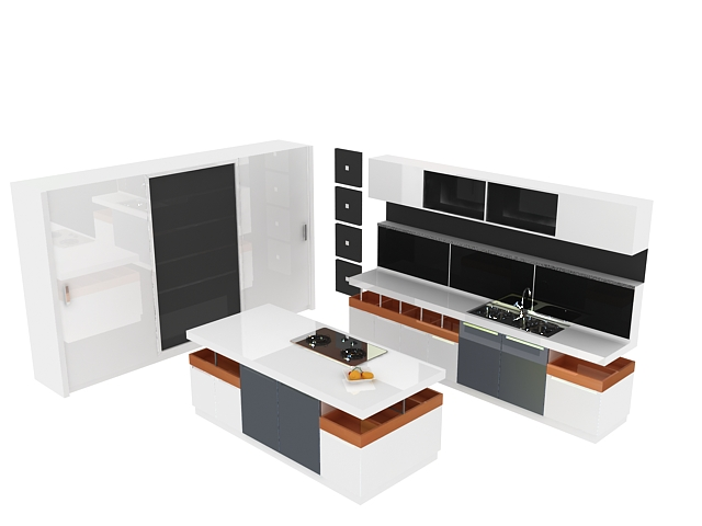 White kitchen design with island 3d rendering