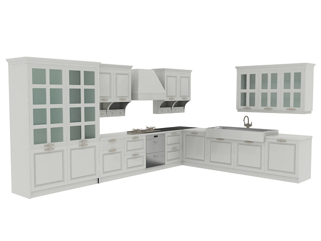 European kitchen cabinets 3d rendering