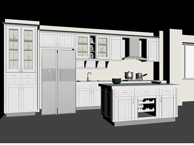 European block kitchen design 3d rendering