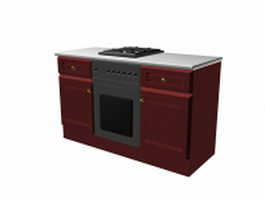 Wooden kitchen stove cabinet 3d model preview
