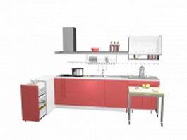 Pink kitchen units 3d model preview