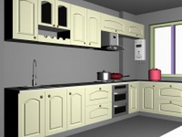 Green kitchen cabinets 3d model preview