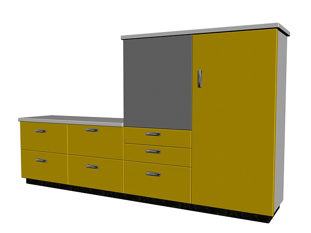 Yellow cupboard 3d rendering