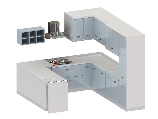 White G-kitchen cabinet 3d rendering