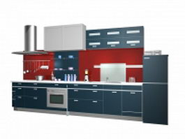 Straight line kitchen layout design 3d model preview