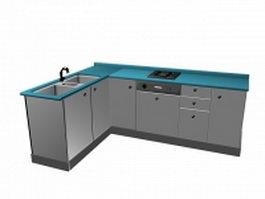L kitchen cabinet unit 3d model preview
