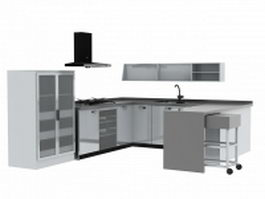 U-shaped kitchen layout 3d model preview