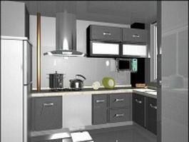 Silver gray kitchen design 3d model preview