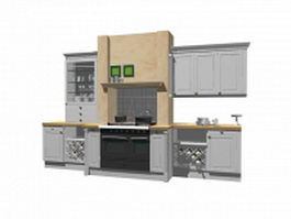 Kitchen cabinet with wine rack 3d preview