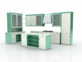 Green block kitchen with island 3d preview
