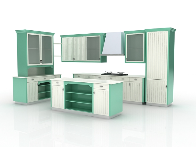 kitchen cabinet 3d green block kitchen with island 3d model 3dsmax files free 18190
