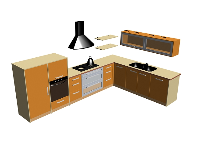 Orange kitchen cabinet design 3d rendering