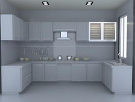 U-kitchen layout design 3d preview