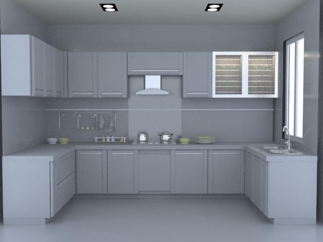 U-kitchen layout design 3d rendering