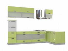 Olive green kitchen cabinets 3d model preview