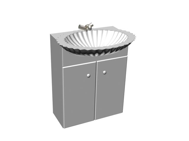 2 door vanity unit 3d rendering