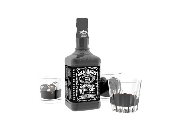 Liquor jack daniels 3d rendering