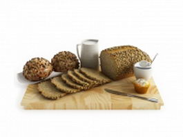 Bread breakfast set 3d preview