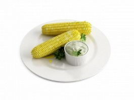 Corn cob and butter 3d preview