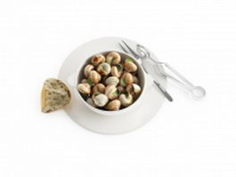 French cooked snails 3d preview