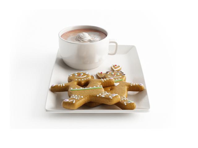 Chocolate milkshake and biscuit 3d rendering