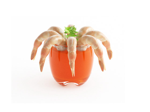 Prawn cocktail 3d rendering