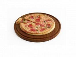 Big sausage pizza 3d model preview