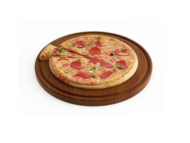 Big sausage pizza 3d rendering