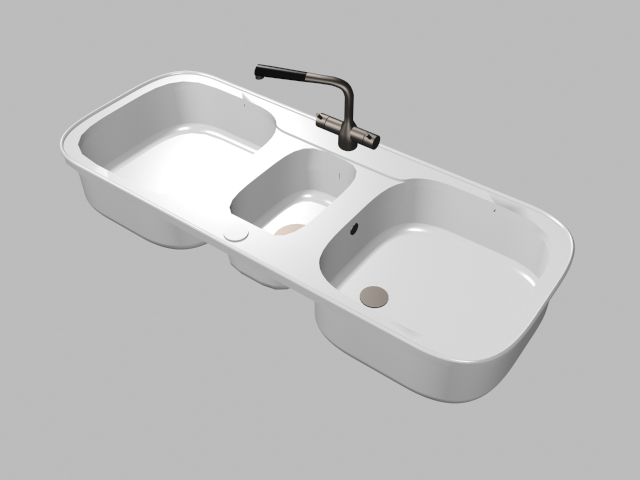 Double bowl kitchen sink 3d rendering