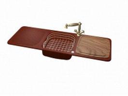 Double drain board kitchen sink 3d model preview