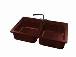Dark red kitchen sink 3d model preview