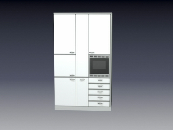Kitchen cupboard with oven 3d rendering