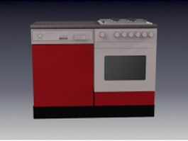 Red gas stove 3d model preview