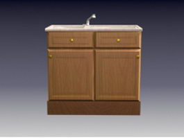 Wood cabinet with under-mount sink 3d model preview
