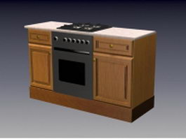 Gas stove wood cabinet 3d preview