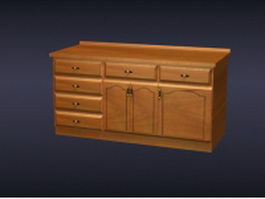 Wooden kitchen counter cabinet 3d preview
