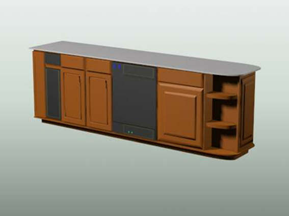 Wood wall cabinet for kitchen 3d rendering